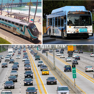 OCTA train, bus, and cars