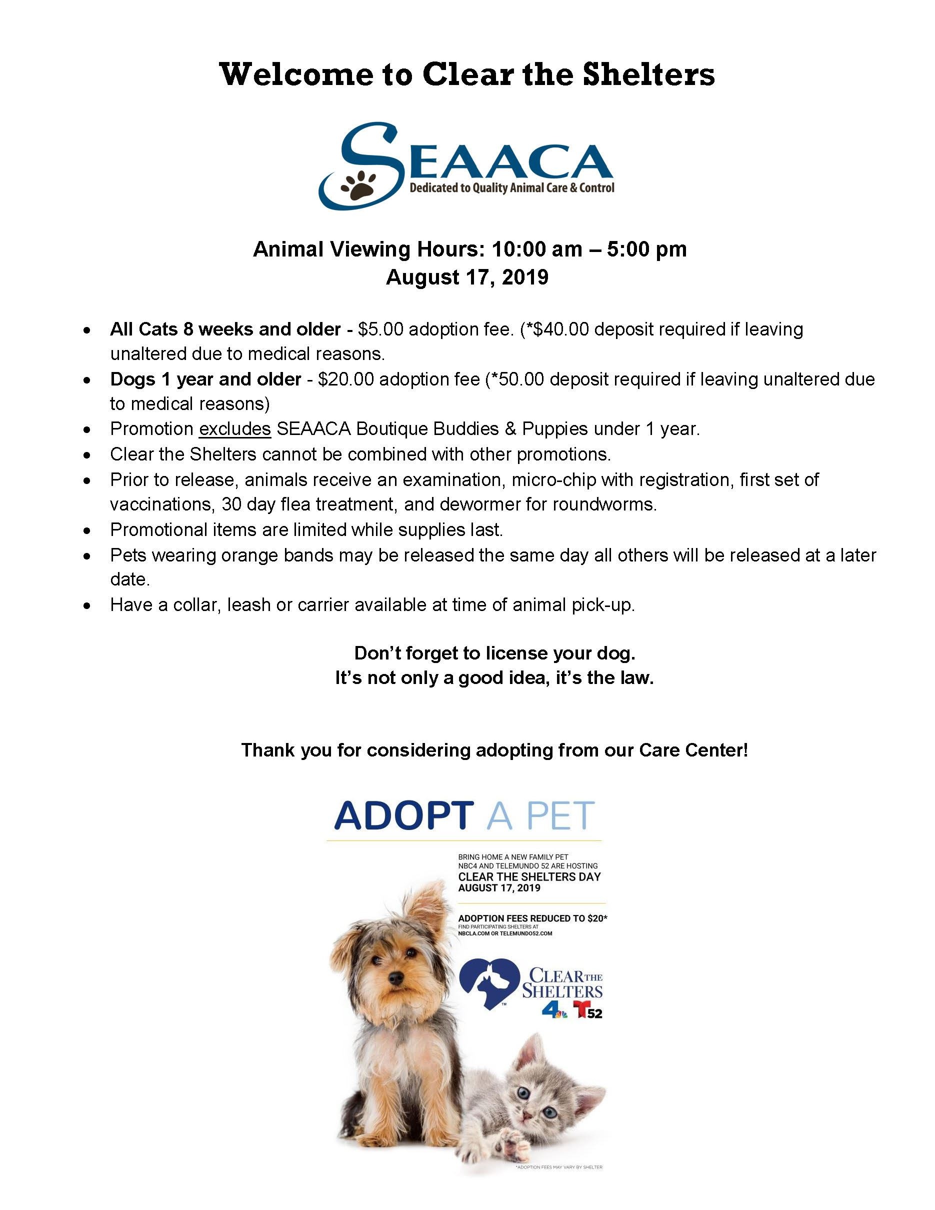 2019 Clear_the_Shelters_SEAACA_Handout