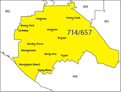 714-657 Area Code Map